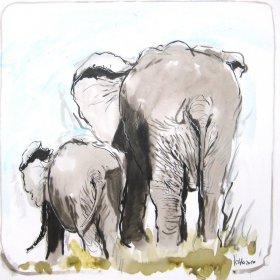 Afrikanische Elefanten Original 1730  Acryl auf Leinwand  60 x 60 cm