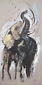 Afrikanischer Elefant Original 1791  Acryl auf Leinwand  120 x 60 cm
