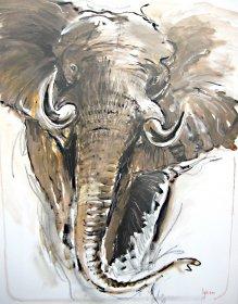 Afrikanischer Elefant Original 1723  Acryl auf Leinwand  120 x 100 cm