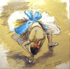 Hommage à Edgar Degas Original 1457  Acryl/Oel  30 x 30 cm