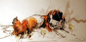 Stilleben mit Bernardiner Aquarell/Tusche  40 x 70 cm