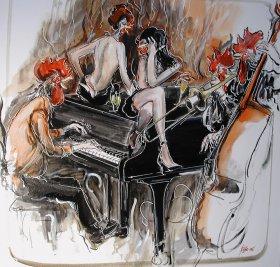 Jazztime Acryl/Oel auf Leinwand 100 x 100 cm